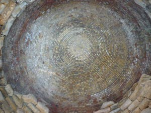 Ceiling of the Etruscan tomb of Pietrera, Vetulonia, Maremma, Tuscany,  Italy