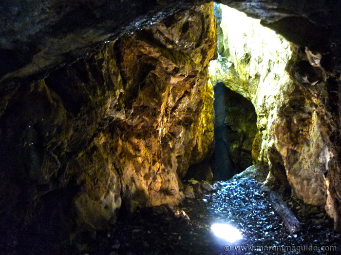 Medieval mine shaft with ladder in Maremma Tuscany.