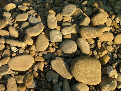 pebbles on Cala Martina rocky shore, Maremma