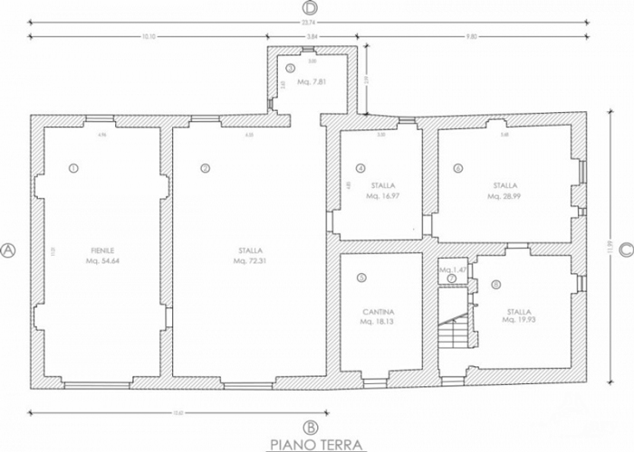 Farm for sale in Tuscamny Italy: ground floor plan