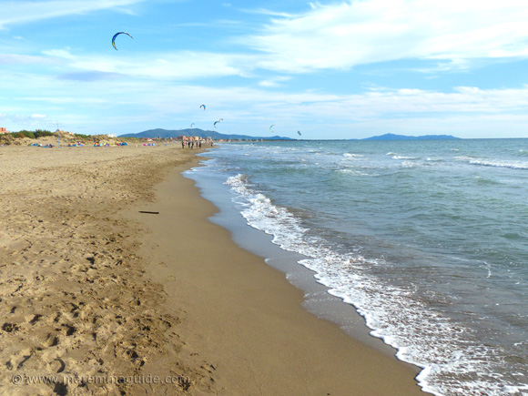 Kite surfing in Tuscany Italy on Fiumara beach near Grosseto Maremma