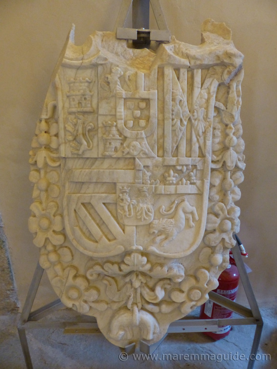 Spanish royal family coat of arms in marble Forte Stella Maremma Tuscany.