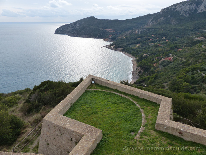 View from Forte Stella along the Porto Ercole coastline to Torre Avvoltore.