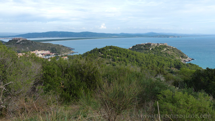 View of Porto Ercole, Forte Filippo, the Rocca Spagnola.
