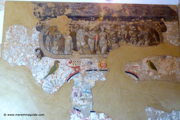 Fortezza Orsini fresco in the castle palace rooms of Niccolo IV Orsini