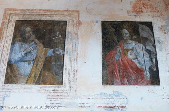 Francesco Nasini frescoes of saints in the Chiesa della Madonna delle Neve in Santa Fiora.
