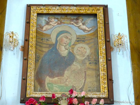 Fresco of Madonna col Bambino, Chiesa della Madonna degli Schiavi, Montegiovi.