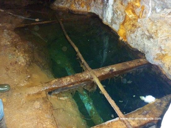 Flloded chamber of galleria Giulia sulphur mine Massa Marittima Tuscany