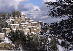 Weather in Italy: a snow covered Tuscan hill town - Gerfalco in Maremma