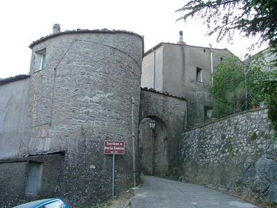 Gerfalco Torrione medieval tower and Porta Senese XIV century Maremma Tuscany Italy