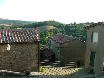 Gerfalco, Montieri: view of the metalliferous hills and old slag heaps (now covered in vegetation) outside of the town