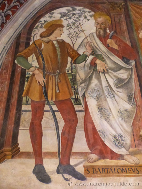 1493 fresco by Girolamo di Domenico of Saints Sebastiano and Bartolomeo in Seggiano Tuscany.