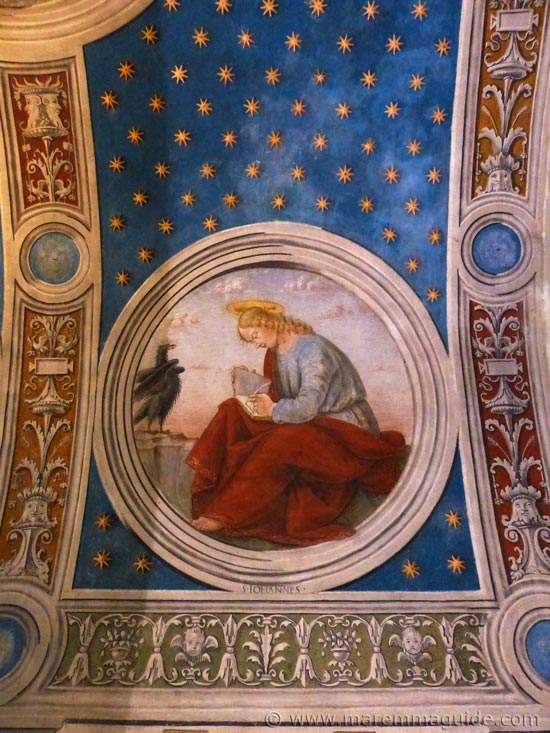 15th century Girolamo di Domenico fresco of Evangelist John in the Oratory of San Rocco in Seggiano.