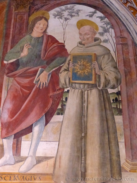Saints Gervasio and Bernardino fresco by Girolamo di Domenico.