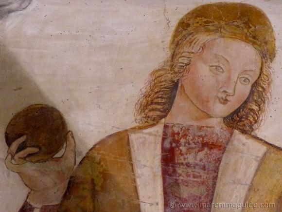 15th century fresco detail, Seggiano Maremma Tuscany.