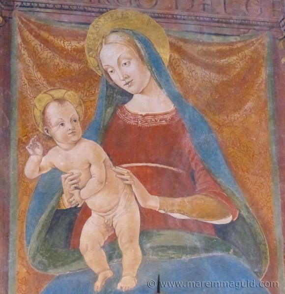 1493 Madonna and Child fresco by Girolamo di Domenico in Seggiano Maremma Tuscany.