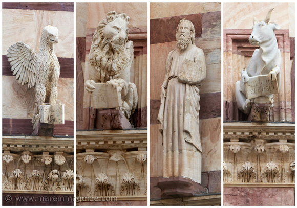 Grosseto cathedral's four stone evangelists.