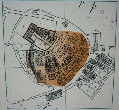 Medieval castle and city plan: Tatti in Maremma Italy