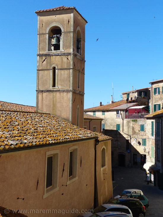 Campiglia Marittima church San Lorenzo aand Piazza Garibaldi.