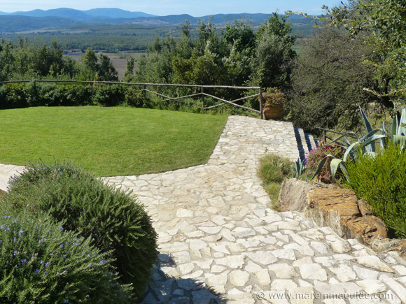 Tuscany holiday villa pool garden with lawn and fragrant rosemary and roses
