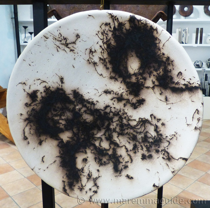 Horse hair Raku plate by Mara Funghi in Tuscany..