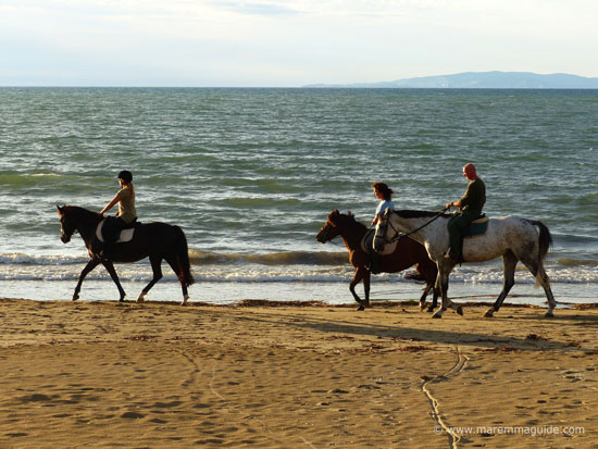 Horse riding on a Tuscany beach in Maremma: Punta Ala in October