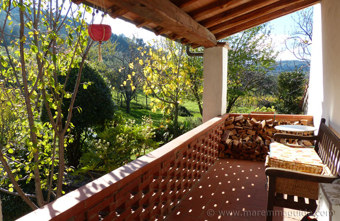 First-floor terrace in November sunshine at Podere Peroporcino.
