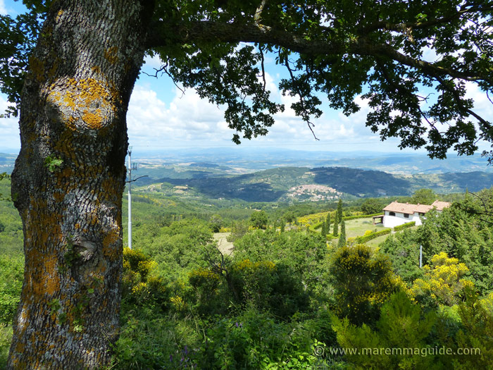 Far ranging view across Tuscany countryside