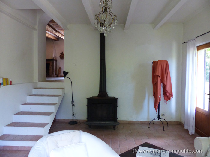 Lower living room with wood burning stove