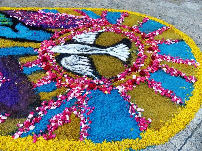 Infiorata dove of peace flower design.