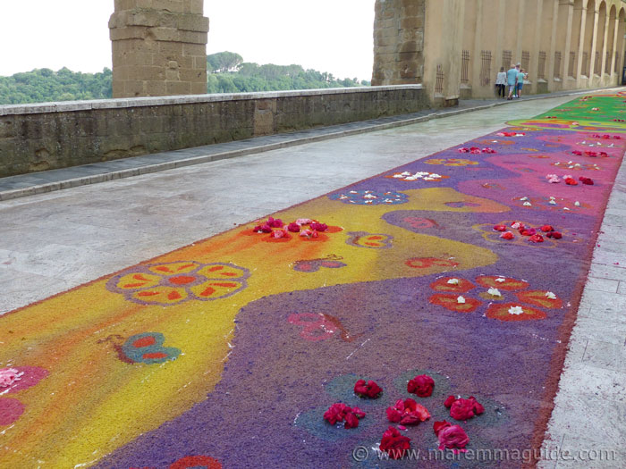 The infiorata in the rain.