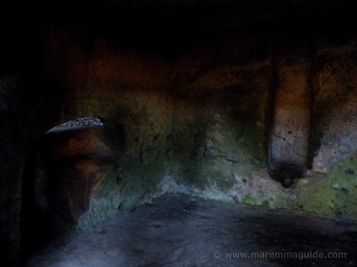 Pre-historic, Etruscan and mediavel man cave dwellings at Sorano Tuscany.