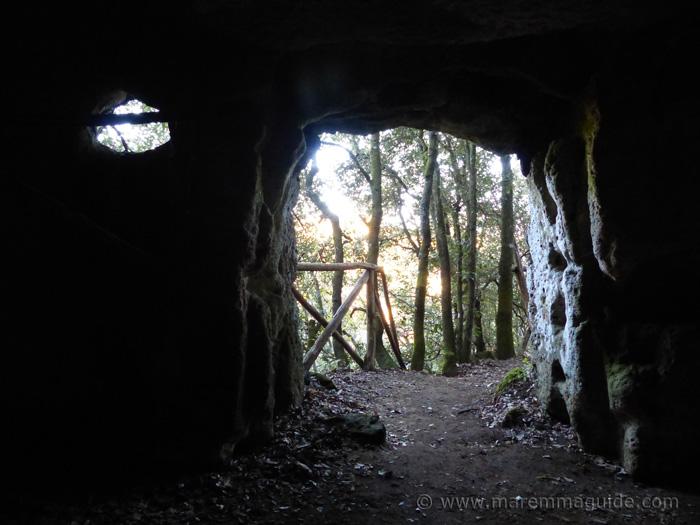 Insediamento rupestre di San Rocco cave dwelling entrance at Sorano Tuscany.
