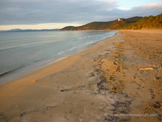 Italian beaches in Maremma: Capanna Civinini Castiglione della Pescaia in January Tuscany