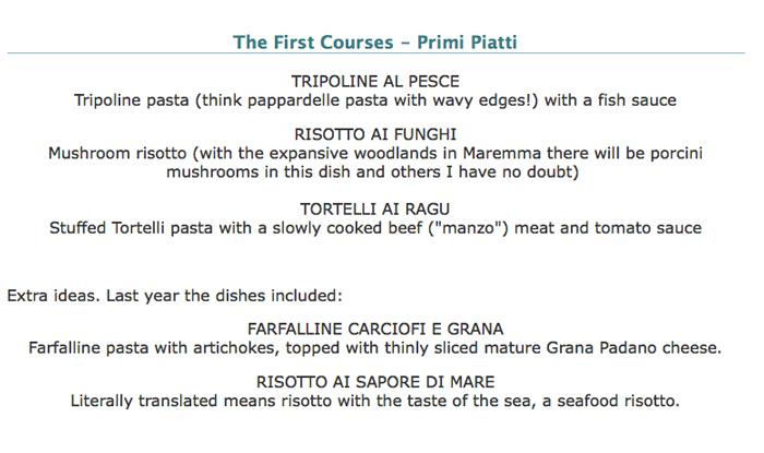 Italian Christmad dinner menu.