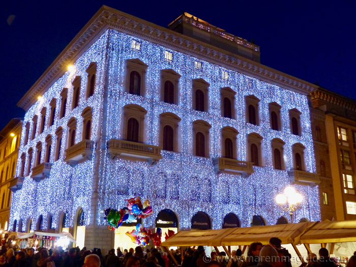 Italian Christmas lights in Florence Tuscany.