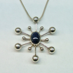 Italian pendant sterling silver natural sapphire gemstone