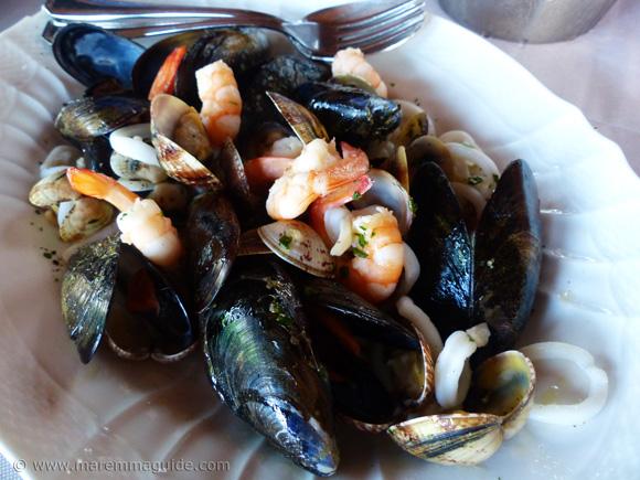 Italian seafood antipasto.