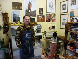 Italian shoemaker Diego Daddi, Suvereto, Maremma Italy