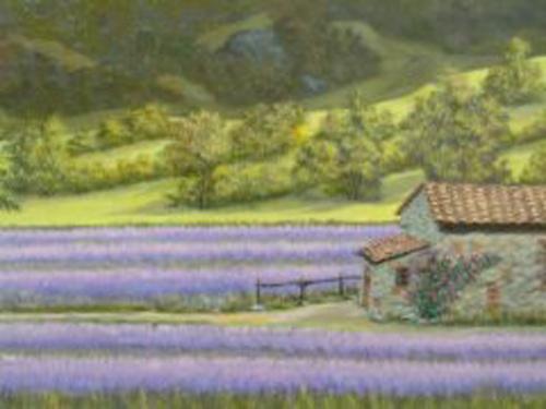 Italian painters in Maremma Italy: Campo di Lavanda by Jean Santucci