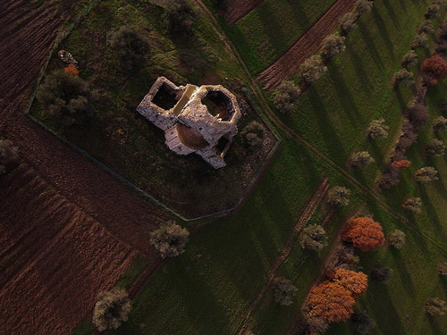 Kite aerial photography image of the Canonica of San Bruzio near Magliano in Toscana, Maremma Italy
