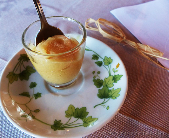 Sorbet at La Fontanina ristorante Porto Santo Stefano, Monte Argentario.