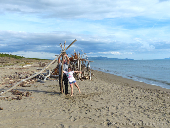 The driftwood beach house rafters go up on le Marze beach