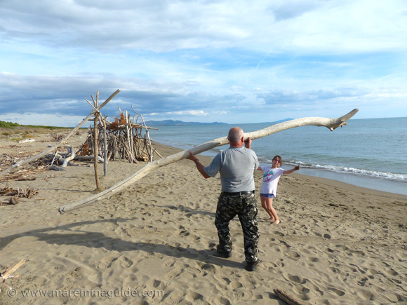 Building a driftwood beach house in Maremma Tuscany