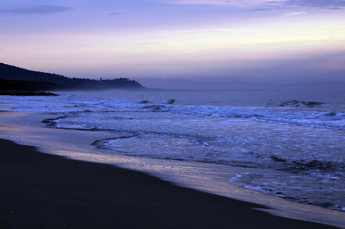 Sunset over Le Rocchette beach, Castiglione della Pescaia Maremma Italy
