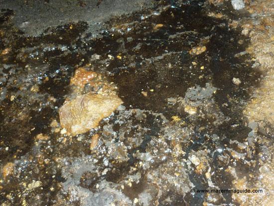 Lead deposits on the floor of the Giulia mine in Massa Marittima
