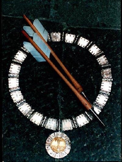 Goldsmiths Jewellers Lorenzo Mattafirri: a medieval silver and gold necklace for the Balestro del Girifalco, Massa Marittima, Maremma