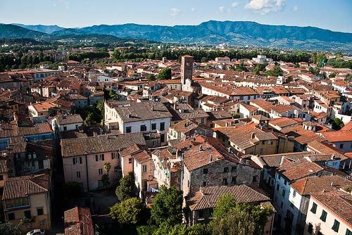 Lucca Italy photos: a panoramic view of Lucca rooftops