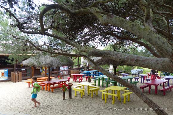 Luna Beach bar at spiaggia Il Pino Maremma Tuscany