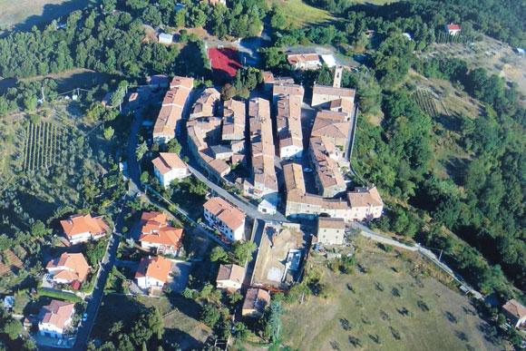 Aerial view of Lustignano Maremma Tuscany